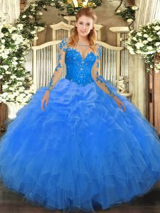 Delicate Blue Scoop Neckline Lace and Ruffles 15th Birthday Dress Long Sleeves Lace Up