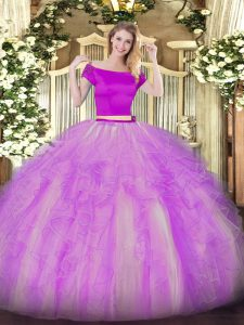 Lilac Two Pieces Appliques and Ruffles Ball Gown Prom Dress Zipper Tulle Short Sleeves Floor Length