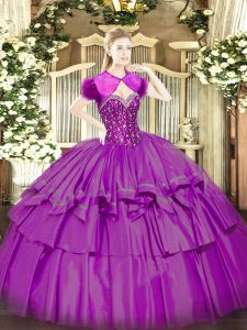 Fuchsia Quinceanera Dresses Military Ball and Sweet 16 and Quinceanera with Beading and Ruffled Layers Sweetheart Sleeveless Lace Up
