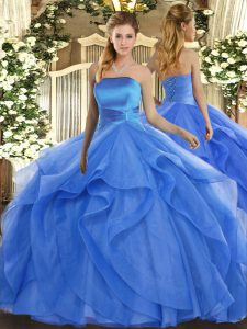 Noble Ruffles Sweet 16 Dress Blue Lace Up Sleeveless Floor Length