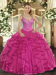 V-neck Sleeveless Tulle Quinceanera Dresses Beading and Ruffles Lace Up