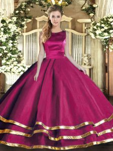 Fuchsia Scoop Lace Up Ruffled Layers Quinceanera Gowns Sleeveless