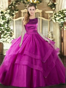 Fuchsia Sweet 16 Quinceanera Dress Military Ball and Sweet 16 and Quinceanera with Ruffles and Ruffled Layers Scoop Sleeveless Lace Up