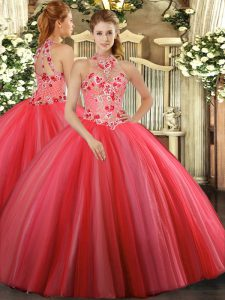 Top Selling Coral Red Sleeveless Floor Length Embroidery Lace Up Ball Gown Prom Dress