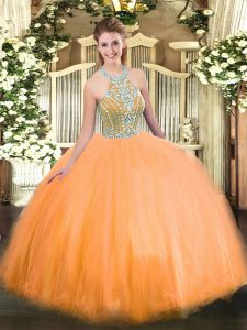 Orange Ball Gowns Halter Top Sleeveless Tulle Floor Length Lace Up Beading Quinceanera Dress