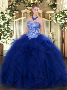 Enchanting Ball Gowns Quinceanera Gowns Blue Sweetheart Organza Sleeveless Floor Length Lace Up