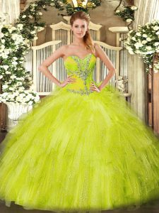 Fine Organza Sweetheart Sleeveless Lace Up Beading and Ruffles Quinceanera Gowns in Yellow Green