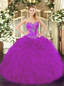 Fuchsia Sweetheart Lace Up Beading and Ruffles Vestidos de Quinceanera Sleeveless