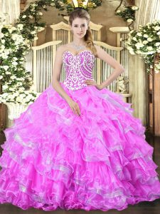 Pretty Lilac Ball Gowns Sweetheart Sleeveless Organza Floor Length Lace Up Beading and Ruffled Layers Quinceanera Gowns