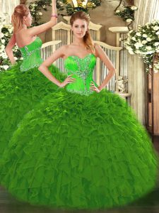 Custom Design Green Sweet 16 Dresses Sweet 16 and Quinceanera with Beading and Ruffles Sweetheart Sleeveless Lace Up