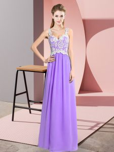 Lavender Prom Dresses Prom and Party with Lace V-neck Sleeveless Zipper