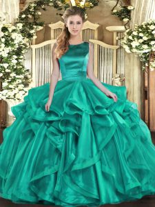 Turquoise Sleeveless Floor Length Ruffles Lace Up Ball Gown Prom Dress