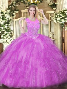 Floor Length Ball Gowns Sleeveless Lilac Sweet 16 Quinceanera Dress Zipper