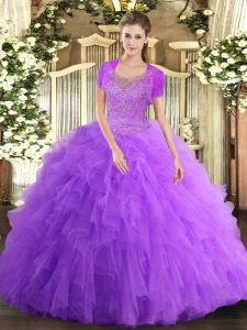 Stylish Lavender Tulle Clasp Handle Scoop Sleeveless Floor Length Sweet 16 Dresses Beading and Ruffled Layers