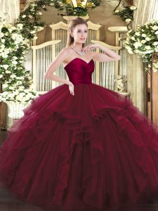 Modern Wine Red Ball Gowns Sweetheart Sleeveless Tulle Floor Length Lace Up Ruffles Quinceanera Gowns