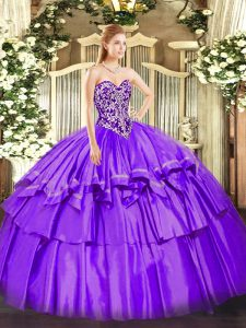 Ball Gowns Quinceanera Gowns Purple Sweetheart Organza and Taffeta Sleeveless Floor Length Lace Up