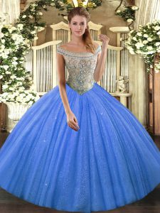 On Sale Baby Blue Tulle and Sequined Lace Up Off The Shoulder Sleeveless Floor Length Sweet 16 Dress Beading
