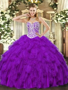 Beading and Ruffles Ball Gown Prom Dress Purple Lace Up Sleeveless Floor Length