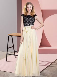 Floor Length Empire Sleeveless Champagne Prom Gown Lace Up