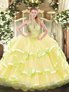 Simple Yellow Lace Up Halter Top Beading and Ruffled Layers Vestidos de Quinceanera Organza Sleeveless