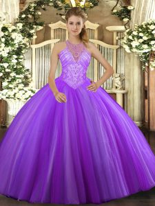 Lavender Lace Up High-neck Beading Sweet 16 Dresses Tulle Sleeveless