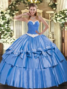 Dramatic Organza and Taffeta Sweetheart Sleeveless Lace Up Appliques and Ruffled Layers Sweet 16 Quinceanera Dress in Blue