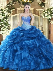 Stunning Sweetheart Sleeveless Vestidos de Quinceanera Floor Length Beading and Ruffles and Pick Ups Blue Organza
