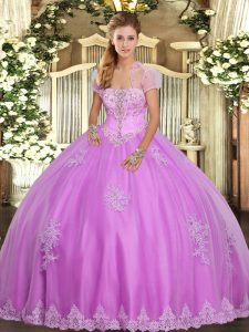 Lilac Lace Up Quinceanera Gown Appliques Sleeveless Floor Length