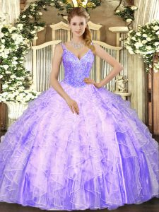 Lavender Ball Gowns Tulle V-neck Sleeveless Beading and Ruffles Floor Length Lace Up Quinceanera Dresses