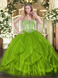 Glittering Olive Green Sweetheart Lace Up Beading and Ruffles Sweet 16 Dress Sleeveless