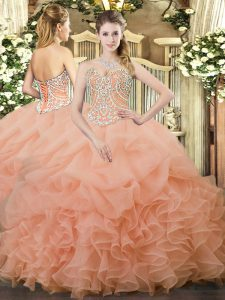 Peach Sweetheart Neckline Beading and Ruffles and Pick Ups Quinceanera Gowns Sleeveless Lace Up