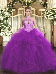 Cute Organza Sleeveless Floor Length Quinceanera Dress and Ruffles and Sequins