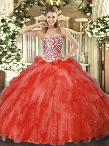 Coral Red Quinceanera Dresses Military Ball and Sweet 16 and Quinceanera with Beading and Ruffles Sweetheart Sleeveless Side Zipper