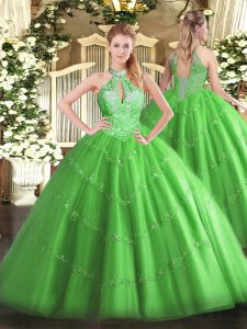 Floor Length Quinceanera Gown Tulle Sleeveless Beading
