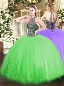 Lace Up Halter Top Beading Quince Ball Gowns Tulle Sleeveless