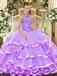 Lavender Halter Top Lace Up Beading and Embroidery and Ruffled Layers Quince Ball Gowns Sleeveless