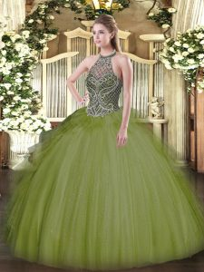 Dynamic Olive Green Ball Gowns Halter Top Sleeveless Tulle Floor Length Lace Up Beading Quinceanera Gowns