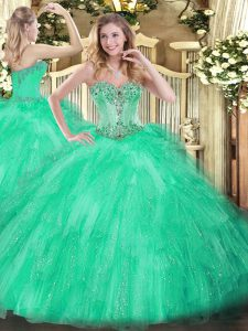 Apple Green 15 Quinceanera Dress Military Ball and Sweet 16 and Quinceanera with Beading and Ruffles Sweetheart Sleeveless Lace Up