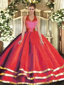 Ball Gowns Quinceanera Gowns Red Halter Top Tulle Sleeveless Floor Length Lace Up