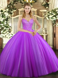 Custom Fit Ball Gowns 15 Quinceanera Dress Eggplant Purple V-neck Tulle Sleeveless Floor Length Lace Up