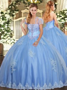 Light Blue Sleeveless Beading and Appliques Floor Length Sweet 16 Quinceanera Dress