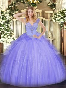 Best Selling Lavender V-neck Lace Up Beading Ball Gown Prom Dress Sleeveless