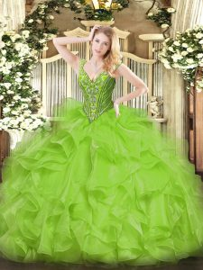 Exceptional Ball Gowns Beading and Ruffles Quince Ball Gowns Lace Up Organza Sleeveless Floor Length