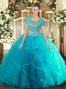 Delicate Aqua Blue Scoop Clasp Handle Beading and Ruffled Layers 15th Birthday Dress Sleeveless