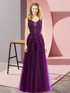 Shining Beading and Appliques Prom Party Dress Dark Purple Backless Sleeveless Floor Length