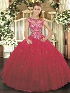 Cap Sleeves Floor Length Beading and Appliques Lace Up Quinceanera Dress with Wine Red