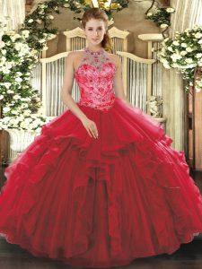 Sleeveless Beading and Embroidery and Ruffles Lace Up Sweet 16 Dress