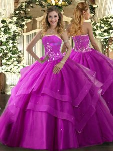 Floor Length Lace Up Vestidos de Quinceanera Fuchsia for Military Ball and Sweet 16 and Quinceanera with Beading and Ruffled Layers