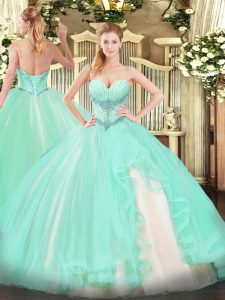 Exceptional Sweetheart Sleeveless Lace Up Vestidos de Quinceanera Apple Green Tulle