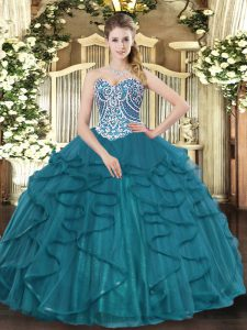 Cheap Teal Sweetheart Lace Up Beading and Ruffles 15 Quinceanera Dress Sleeveless